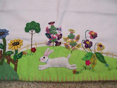 """42"""" Hand made Flannel Beads Flowers RABBIT Bunny Applique EASTER Table Runner A"""