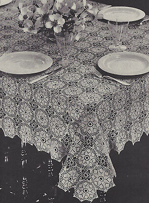 Vintage Crochet PATTERN to make Tablecloth Mosaic Star Flower Motif MosaicTable