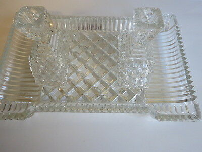 Cut Glass Rectangular Dresser Tray with Matching Candle Holders