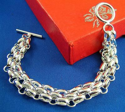 HOT!! 925 Sterling Silver Soft T/O cuff Link Chain Bracelet 7.5""