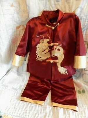 Boys Chinese Silk Two-Piece Dragon Outfit