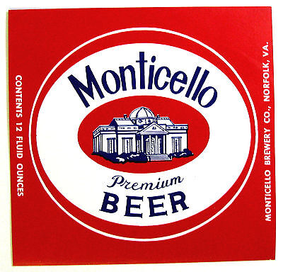 Monticello Brewery MONTICELLO BEER - PREMIUM  label VA 12oz
