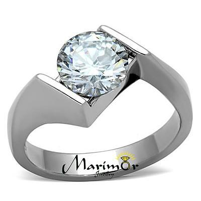 Stainless Steel 2.04 Ct Round Cut Cubic Zirconia Engagement Ring Women's Sz 5-10