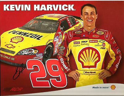 2007 Kevin Harvick SHELL PENNZOIL NASCAR RACING Signed Auto 8.5x11 Postcard