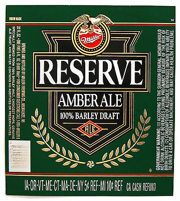Miller Brewing RESERVE AMBER ALE beer label WI 22oz