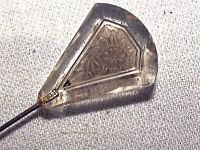 AUTHENTIC ANTIQUE LONG SHANK HAT PIN w PRESSED GLASS FLORAL BEVEL EDGE TOP