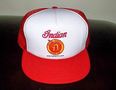 VINTAGE Old School INDIAN MOTORCYCLES Mesh BASEBALL Trucker CAP Hat~MADE IN USA~