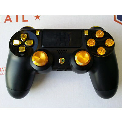 Metal Bullet Buttons + Thumbsticks Set For PlayStation 4 PS4 Controller Gold