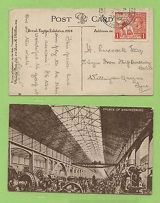 G.B. 1924 KGV 1d Wembley on Palace of Engineering PPC with Exhib. cancel