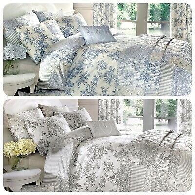 Malton Quilt Duvet Cover Pillowcase Bedding Set Patchwork Striped Vintage Toile