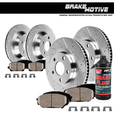 Front + Rear Drill Slot Brake Rotors +Ceramic Pads For 2009 - 2017 Nissan Maxima