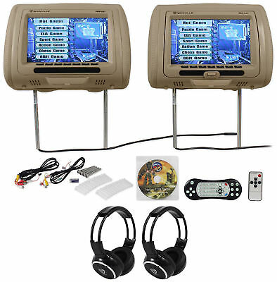 "Rockville RDP931-BG 9"" Beige Car DVD/HDMI Headrest Monitors+2 Wireless Headsets"