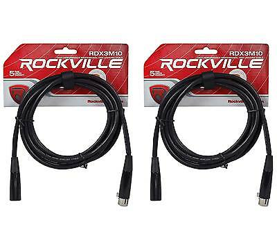(2) Rockville RDX3M10 10 Foot 3 Pin DMX Lighting Cables 100% OFC Female 2 Male