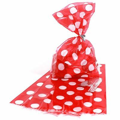 20pcs Red Polka Dots Cellophane Treat Sweet Party Loot Bags With Twist Ties