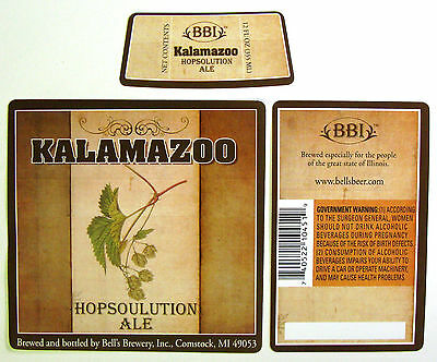 Bell's Brewery  KALAMAZOO HOPSOLUTION ALE beer label MI 12 oz