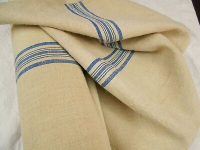 "21"" Vtg Antique INDIGO BLUE STRIPE HEMP LINEN Feed Sack Grain Bag Fabric 20 yds"