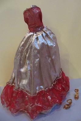 Barbie Princess Red/Gold Sparkle Ball Gown Long Party Dress/High Heel Shoes
