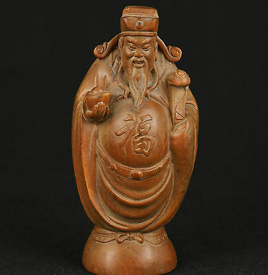 Chinese Old Boxwood Collectable Handwork Carved The God Of Wealth Statue Figure
