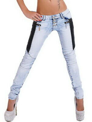 Women's Slim Skinny Leather Panel Stretch Denim Jeans - XS / S / M / L / XL