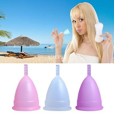 Reusable Silicone Menstrual Cup Soft Period Cups Medical Small Large Size