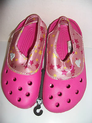 Children's Kids Girl's Crocs Fuchsia Pink Stars Size M3/W5 (UK3 EU34-35) New NWT
