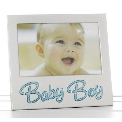 "6"" x 4"" Glitter Baby Boy Satin Silver Photo Frame Occasion Present 73780"