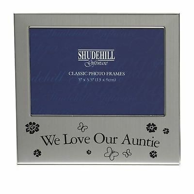 Satin Silver Landscape Photo Frame - We Love Our Auntie