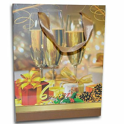 6 Pack of Christmas Gift Wine Glass Theme Paper Bags Small Size
