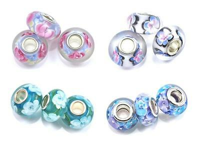 5x Lampwork Murano Glass Silver Plated Core Beads Fit European Charm Bracelet