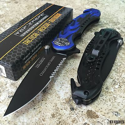 TAC FORCE Blue Skull Tactical Assisted Open Rescue Pocket Knife TF-736BL zix1