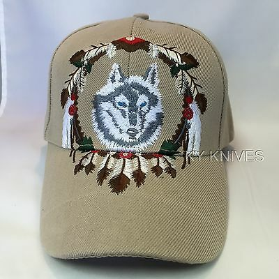 Native Pride WOLF and FEATHERS Baseball HAT Adjustable CAP HT-417 TAN zix