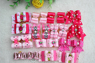 Rose Pink Red Dog Pet Hair Bows for girls Dog Grooming for Festival groomings
