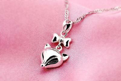 IMPRESSIVE  Sterling Silver Fox Bowknot Pendant  Necklace Jewelry