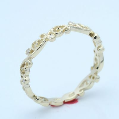 Solid 10K Yellow Gold Antique Diamond Wedding Band Filigree Carving Ring