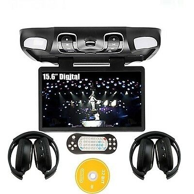 "Black 15.6"" Car Roof Mount Ovehead Flip Down DVD CD FM Player Game+ IR HEADSET"