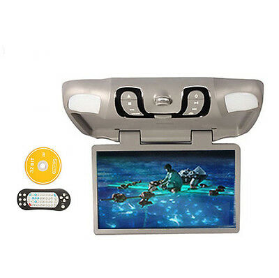 "Gray 15.6"" Car Roof Mount Ovehead Flip Down DVD CD FM Player Sumsung Game IR"