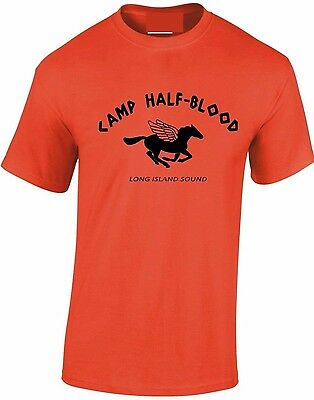 Camp half-Blood T-Shirt orange Pegasus Percy Jackson Greek gods tshirt Mens Kid