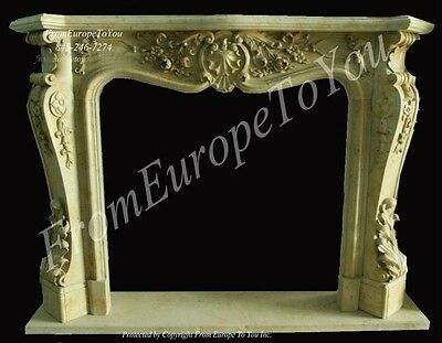 Beautiful Hand Carved Marble French Style Mantel - Mbf090
