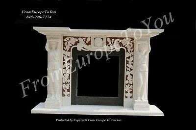 Beautiful Hand Carved Marble Figural Fireplace Mantel - Zh1