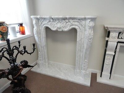 Hand Carved Carrera Marble Fireplace Mantel 10Mnt136