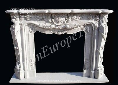 Hand Carved French Style Solid Marble Fireplace Mantel Mbf042