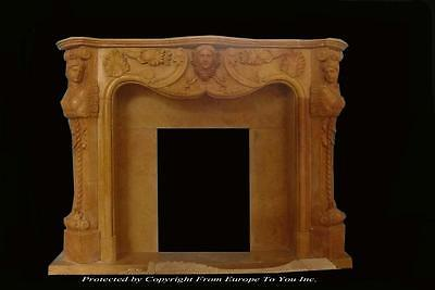 Victorian Style Hand Carved Solid Marble Estate Fireplace Mantel -Tl19