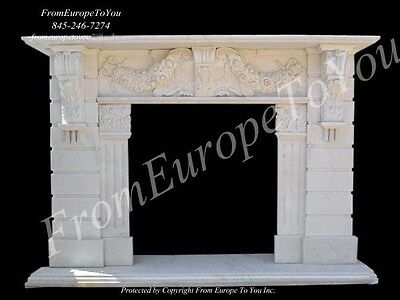 Beautiful Hand Carved Marble Fireplace Mantel Tle13