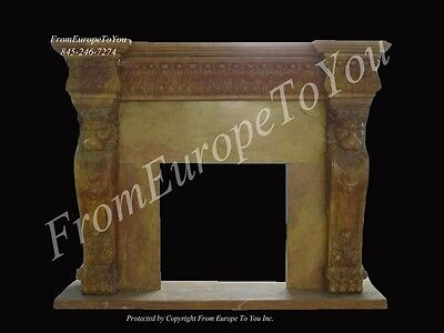 Nice Hand Carved Marble Lion Fireplace Mantel