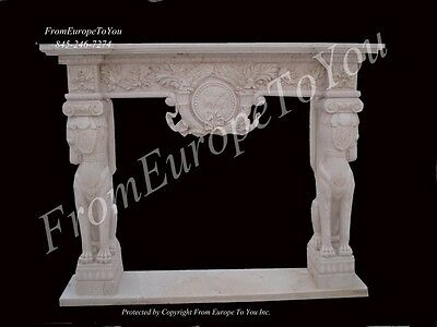 Great Hand Carved Egypt Cream Marble Dog Fireplace Mantel Mnt98