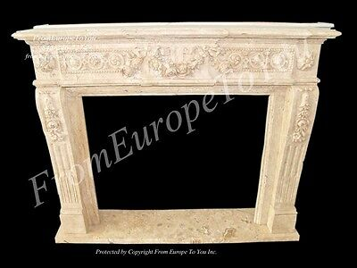 Hand Carved Marble Classical Fireplace Mantel Fpl23