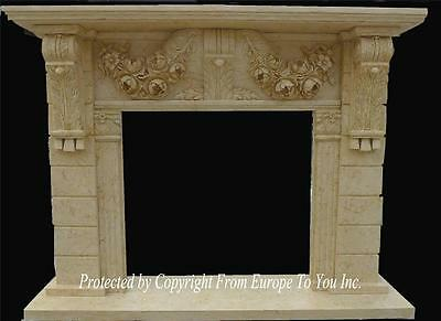 Beautiful Hand Carved Marble Fireplace Mantel - Mntl999