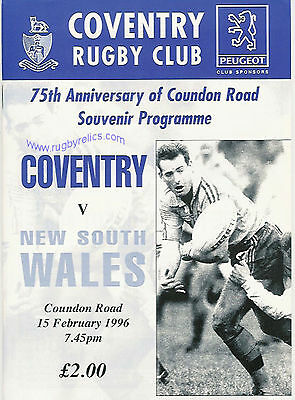 Coventry v New South Wales1996 Rugby Programme 15th February at Coventry