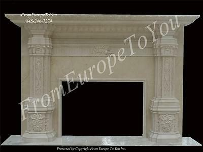 Massive Hand Carved Marble Custom Fireplace Mantel Mr2