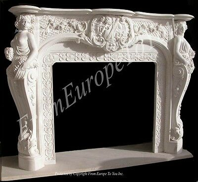 Great Hand Carved Marble Figural Fireplace Mantel Lst19